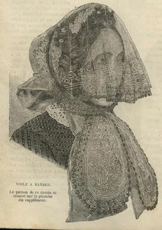 Mode ILLUSTREE Pattern April 1 1860 Bonnet A Barbes  showing the same crescent shaped bonnet veil hanging in place.