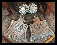 cbeb687bc356 NAVAJO~STERLING SILVER~ TOOLED ~THUNDERBIRD ~ EARRINGS ~ BY VINCENT PLATERO