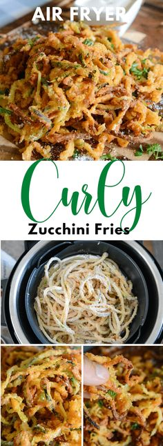 Air Fryer Curly Zucchini Fries Air Fryer Oven Recipes, Air Fry Recipes, Air Fryer Dinner Recipes, Side Dish Recipes, Vegetable Recipes, Cooking Recipes, Healthy Recipes, Air Fryer Recipes Vegetarian, Ninja Recipes