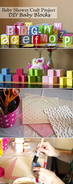Chasing Davies: Baby Shower Craft Idea: DIY Baby Blocks Have guests sign the bottom of thier block with sharpie. Baby Shower Crafts, Baby Shower Activities, Baby Shower Fun, Baby Shower Gender Reveal, Baby Crafts, Baby Shower Themes, Baby Boy Shower, Baby Shower Decorations, Shower Ideas