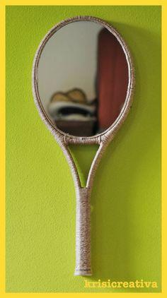 Mirror Smash Tennis racket restyled into a mirror. Handmade by KriSiCreativa