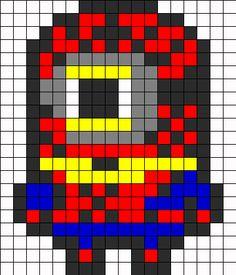 Spiderman Minion perler bead pattern