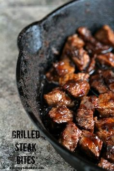 Steak & Potato Bites via Kiss My Smoke - Perfectly easy to make grilled steak bites. I Love Food, Good Food, Yummy Food, Beef Dishes, Food Dishes, Main Dishes, Meat Recipes, Cooking Recipes, Recipes Dinner
