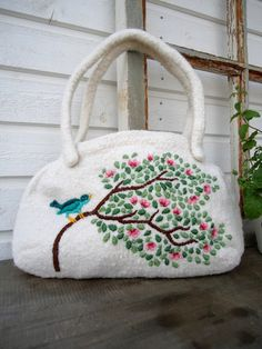 Knitted and embroidered bags