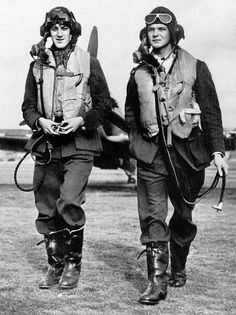 "AM photographer Cecil Beaton visited No 249 Squadron RAF at RAF North Weald in September 1940 and captured P/O James RB ""Jim"" Meaker (left) and P/O Percival R-F ""Percy"" Burton as they walked away for a post-sortie debrief. The pilots were relative newcomers, having arrived on 27 June and 21 July respectively, both perishing in combat in Hurricane Mk I GN-N and GN-H on the morning of 27 September."