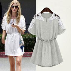 2015 Women Summer Sexy Lace Hollow Out Waist Floral Casual Short Party Mini Dress Vestido Gray White Dress Plus Size S M L XL XXL - Roupas e Moda - 1