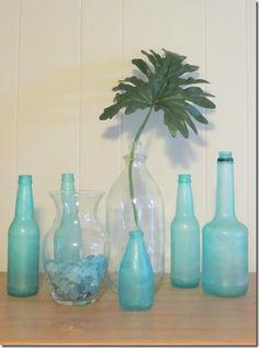 """diy """"beach glass"""" bottles"""