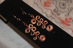 JW-1410-002 Wire work spirals, handmade earrings from copper wire