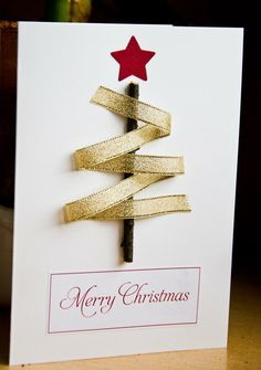 Best Easy DIY Christmas Card Ideas – Christmas Celebration – All about Christmas… – Christmas DIY Holiday Cards Christmas Card Crafts, Homemade Christmas Cards, Christmas Cards To Make, All Things Christmas, Homemade Cards, Christmas Ideas, Christmas Ribbon, Merry Christmas Card, Elegant Christmas