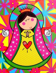 Virgencita for First Communion Art Pop, Jesus E Maria, Holy Mary, First Holy Communion, Blessed Mother, Religious Art, Doodle Art, Folk Art, Art Drawings