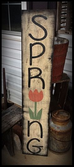 Handmade Primitive Sign for Spring! Porch Sitter #NaivePrimitive #Crafter