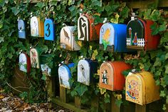 So nice of all the neighbors to agree to do such a pretty, artistic, display with their mailboxes.