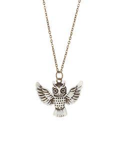 dAffadowndily Cream Owl in Flight Pendant Necklace | zulily