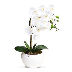 Arranjo de Flores Artificiais Orquideas Brancas Vaso Bowl 45x20 cm