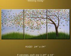 Kunst-Landschaft-Original-Gemälde große Triptychon abstrakte moderne zeitgenössische Bäume... 24 x 54... Blasen Weg, kommt fertig zum Aufhängen