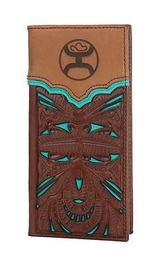 HOOey Brown & Turquoise with Floral Tooling Overlay Rodeo Wallet/Check Book Mommy Jewelry, Cowgirl Jewelry, Geek Jewelry, Gold Jewellery, Glass Jewelry, Metal Jewelry, Jewelry Necklaces, Cowgirl Tuff, Cowgirl Style