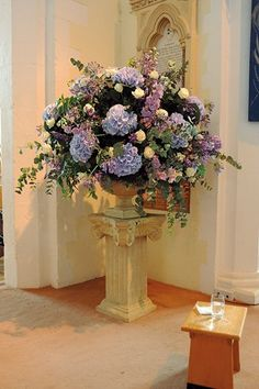 Wedding Flower Arrangements In Church: Wedding flowers for church arrangements. Wedding flowers for churches church. Church Wedding Flowers, Floral Crown Wedding, Altar Flowers, Bridal Flowers, Large Flower Arrangements, Wedding Flower Arrangements, Decoration Hall, Bouquet, Floral Garland