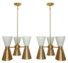 Set of Eight Mid-Century Church Chandeliers - there are little crosses cut into the brass at the bottoms!