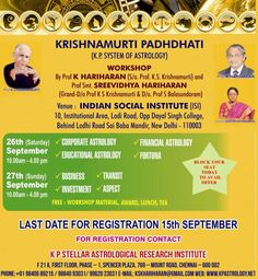 FOR REGISTRATION CONTACT KP Stellar Astrological Research Institute F21A, First Floor, Phase I Spencer Plaza, 769 Anna Salai Chennai 600 002 Ph: +91 98406 89215 / 988409 3031/ 9962023031