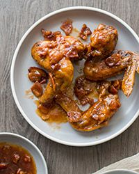 Crispy bacon bits make these sweet and salty chicken wings extra indulgent.