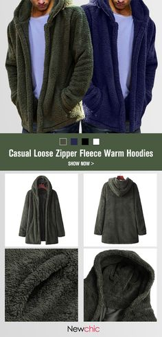 Mens Winter Casual Loose Fleece Solid Color Long Sleeve Warm Coat Winter  Outfits Men d64fcaa34a87