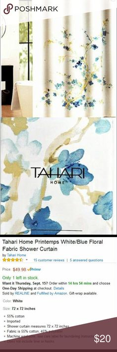 Tahari Home Printemps White/Blue Floral Fabric Shower Curtain Tahari ...