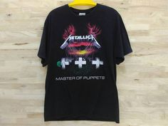 Vintage 90s Metallica Master Of Puppets Album Shirt Black Large T Shirt by ArenaVintage