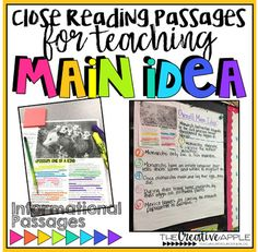 This Close Reading Main Idea resource contains high interest informational passages, graphic organizers, and performance tasks for research. You will also receive a link to view a teaching video and student discussion video.