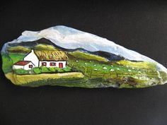 Irish cottage with sheep. Acrylic on rock found on the Antrim Coast N.I.... Great pasture scenery!
