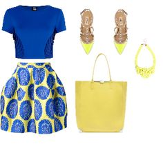 blue and yellow fashion look