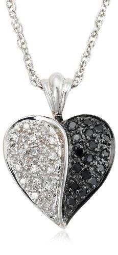 "Sterling Silver Black and White Diamond Heart Pendant Necklace (1/4 cttw), 18"" Amazon Curated Collection. $67.50. Made in China. Save 46%!"
