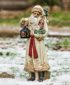 Old World Santa & Lantern Figurine