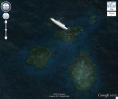 The S.S. Jassim, a Bolivian cargo ferry, ran aground and sank on the Wingate Reef off the coast of Sudan in 2003. At 265 feet (81 meters) long, it is now one of the largest shipwrecks visible on Google Earth