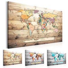 Pinnwand Weltkarte Wandbilder Landkarte Leinwand Bilder xxl Kork - Leinwandbilder - Ideas of Leinwandbilder New World Map, Color World Map, World Map Art, World Map Canvas, World Map Decor, Office Wallpaper, Globe Decor, Map Wall Decor, Art Mural