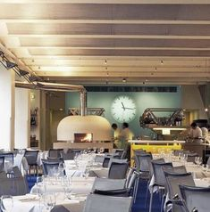 The River Cafe (the restaurant that inspired April Bloomfield to continue being chef) Pizza Restaurant, Restaurant Design, Restaurant Kitchen, Restaurant Ideas, Cafe Interior, Interior Design, Italian Cafe, Wood Fired Oven, London Places