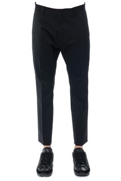 DSQUARED2 DSQUARED2 WOOL TROUSERS WITH LEATHER DETAILS. #dsquared2 #cloth #