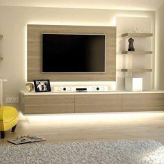 Modern Tv Unit Designs, Wall Unit Designs, Living Room Tv Unit Designs, Tv Wall Design, Tv On Wall Ideas Living Room, Modern Tv Room, Modern Tv Wall Units, Tv Cupboard Design, Tv Wanddekor