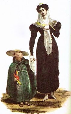 Into History : A Case of Mistaken Identity?  From the blog post by David Rickman:   This print of a Mexican lady and her son is by Claudio Linati, based on sketches he made ca. 1825-1826 in Mexico and published in his Trajes civiles, religiosos y militares de México (Paris 1828).