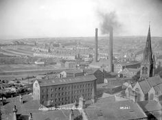 Huddersfield from Longroyd Bridge, Source: Kirklees Image Archive Huddersfield Yorkshire, Huddersfield Town, Industrial Architecture, Image Archive, West Yorkshire, Paris Skyline, Urban, River, Black And White