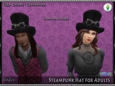 **Steampunk Hat*This was the second gift of mine for Simblreen this year. A steampunk hat converted from TERA to Sims 4. It is enabled for Teen-Elder females and males and comes in six colors. ** Base...