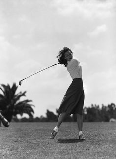 Golf Swing Vintage Girl