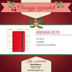 Agenda settimanale 2015 ecopelle rossa, pratica e tascabile, perfetta #idearegalo per #Natale! Ordine minimo 10 pezzi, possibilità di stampa personalizzata. Info e ordini:  http://www.decografic.com/gadget-promozionali