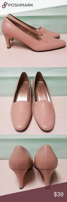 Naturalizer tan 3 inch pumps Beautiful, classy, and comfortable. A couple little blemishes from storage (see pics) but these are in good used condition. Beautiful heeled loafers. Size 8W. Save 10% on all bundles.  I ship daily! Naturalizer Shoes Heels