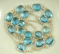 Amazing sterling silver & blue topaz  connector chain 6 inches