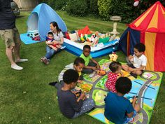 Birthday fun! Built a tent city ... with delux relaxing suite ( i.e. The pool with cushions lol)  Like a mini Glastonbury or glam camping / glamping. Perfect for the birthday party