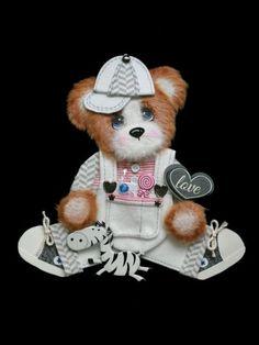 MOMZ Sweet Boy Baby Tear Bear Paper Piecing Premade Scrapbook Page Album Card