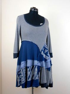 Upcycled Blue Grey Tshirt Tunic / Recycled Stripey Shirt Tunic / Navy Gray Stripe Graffiti Tunic Top / Lagenlook Tunic Top by Tailortrash on Etsy https://www.etsy.com/listing/265520307/upcycled-blue-grey-tshirt-tunic-recycled