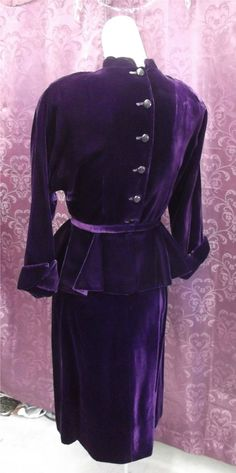 40s DEEP PURPLE VELVET SUIT w/ Rhinestone drops  sz S  in Clothing, Shoes & Accessories, Vintage, Women's Vintage Clothing, 1939-46 (WWII), Suits, Outfits | eBay