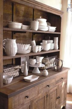 love white dishes against the dark wood! Cost Plus World Market - Victorian Isles Collection >> Dining Room Hutch, Kitchen Hutch, Kitchen Dining, Kitchen Decor, Console Table, China Hutch Decor, Sweet Home, White Dishes, Home And Deco