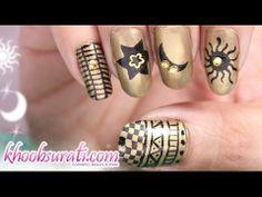 Sun, Star N Moon Nail Art Design Visit for Buy:- http://khoobsurati.com/make-up/nail-art Visit for Tutorial:- https://www.youtube.com/watch?v=ZrExQKARr7Y
